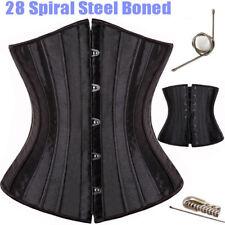 Black 28 Steel Bones Boned Waist Training Underbust Lace Up Corset Body Shaper #