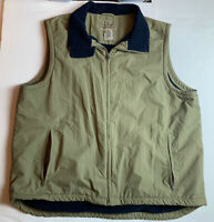 Mens LL Bean Tan Vest, Nylon Shell, Fleece Lining, Size XXL Tall Beige Full Zip