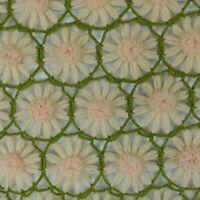 Vtg Daisy Afghan 42 x 58 Green Cream Pink Sofa Throw Handmade Crochet Blanket