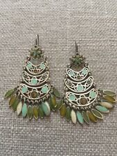 New Silver Tone Chandelier Earrings Blue Green Turq Enamel Detail Drops