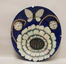 Birger Kaipiainen Lustre Blue Clocks Pearl Decorated Art Plate Finland Arabia