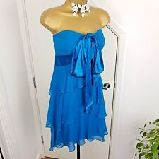Ex Coast Dress Occasion Wedding Party Prom Strapless Teal Blue Size UK 12