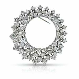 Beautiful Three Row Circle Design With Crystal Clear Cubic Zirconia Fine Brooch