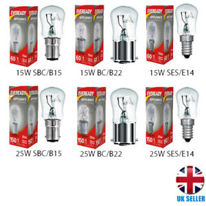 Universal Appliances Bulb 15w 25w Pygmy Light Lamps E14 B22 B15 Screw Dimmable