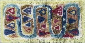 Scandinavian Vintage Light Green Geometric Rya Rug Handwoven,  Wool Decor 1970s