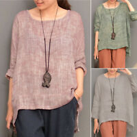 Womens Long Sleeve T-Shirt Casual Cotton Linen Loose Tee Tops Blouse Plus Size