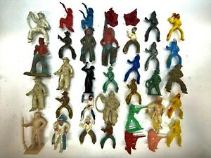 VINTAGE TOY COWBOYS, INDIANS AND HORSE FIGURES LOT of 60