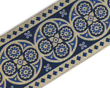 "Vestment Ribbon Very Wide Jacquard Trim Metallic Gold, Blue 3¾"" wide 3 yds Long"