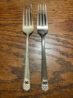 1847 Rogers Bros Silver Plate 2 Dinner Forks Lot Eternally Yours Vintage 1941