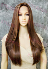 Brown/Blonde/Auburn Long Straight Lace Front Human Hair Blend Wig STEH 4/27/30