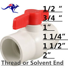 "PVC Ball Valve Choose Your Size 1/2"" to 2"", Thread end or Solvent Slip end"