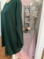 Ideology Womens Large Dress Long Sleeves Green Sweatshirt Tunic Pockets EUC