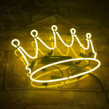 Neon Sign Light Crown Yellow Night Club Bedroom Wall Kitchen Bontique Artwork