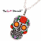 FUNKY LARGE FLOWER SUGAR SKULL NECKLACE DAY OF THE DEAD EMO GOTHIC GIFT NOVELTY