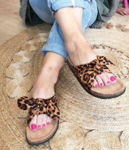 REDUCED PRICE Leopard Women Summer Sliders Bow Ladies SlipOn Flatform SANDAL 3-8