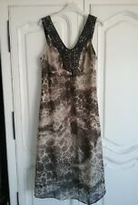 PER UNA dress. Size 14 V neck Bead and embroidery detail Grey/stone animal print