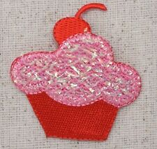 Iron On Embroidered Applique Patch Pink and Red Shimmery Cupcake with Cherry