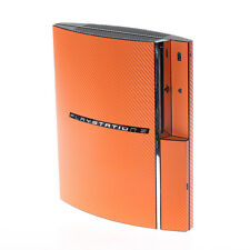 Trama ORANGE IN FIBRA DI CARBONIO PLAYSTATION PS3 FAT Decalcomania Pelle Copertura Wrap