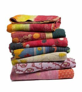Throw Blanket Indian Handmade Vintage Twin Kantha Quilt Bedspread Cotton Gudri