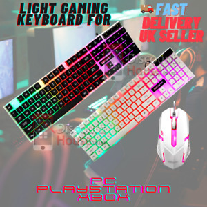 Lighting Gaming Keyboard & Mouse Rainbow Set for PC PS XBOX PS4 PS5 Wired