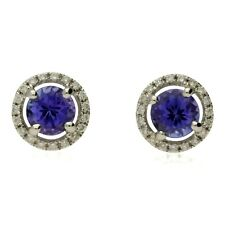 NEW 18CT WHITE GOLD TANZANITE & DIAMOND HALO CLUSTER STUD EARRINGS