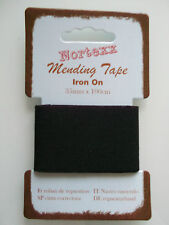 Nortexx Iron on Mending Tape Fabric Repair 1 M X 35 Mm - Choice of Colours Black