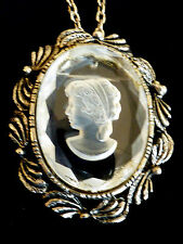 Silve tone Oval Clear Intaglio Glass Cameo Pin Brooch Pendant & chain necklace