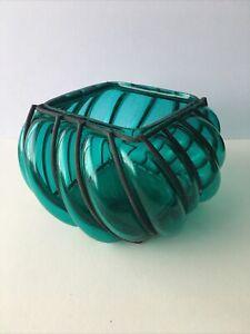 Aquamarine Coloured Glass Metal Cage Blown Tea light Bowl Base. 18cm Wide 10cm H