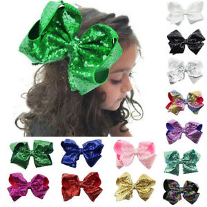 18 Colors 8 inch Large Hair Bow Sequin Alligator Clips Headwear Hair Accessories
