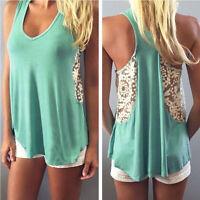 Women Summer Sexy Lace Crochet Blouse Sleeveless Tops T-Shirt Casual Vest Tank