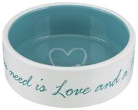 NEW Trixie Cute Ceramic Dog Bowls LOVE Dinner / Water 3 Sizes - Cream & MInt