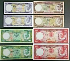 1975 Equatorial Guinea Variety Lot of Eight Notes 25 50 100 & 1000 Ekuele