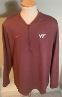 Virginia Tech Hokies Nike Dri Fit Quarter Zip Pullover Jacket Size XL