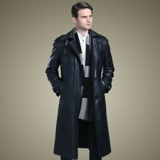 Men's Mid Long Leather Jacket Business Slim Trench Lapel Double breasted Coat