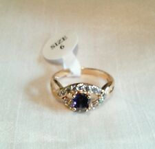 Yellow Gold Plated Purple Cubic Zirconia ring, new in pack, L1/2, UK seller
