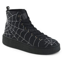"Demonia 1.5"" Black Canvas High Top 7 Eye Spiderweb Creeper Sneakers Boots 4-13"