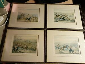 Set of Four Antique Hunting Prints of Engravings by Henry Thomas Alken 1841 (A28