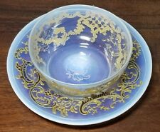 Rare Signed Enameled and Gilded Salviati Finger Bowl And Underplate