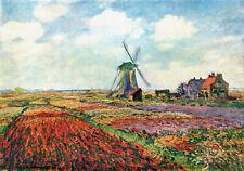 claude monet vintage painting art print holland windmill artwork canvas large
