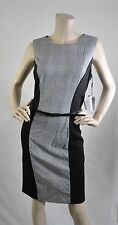 Calvin Klein NWT Sleeveless Career Plaid Knee Length Dress Black Gray Sz 12 $134