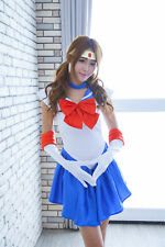 4pcs/set Sailor Moon Sailormoon Blue Serena Cosplay Costume Set+ glove + Tiara