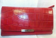 Fossil Large Red genuine croc Leather  Wallet with Check Book Holder