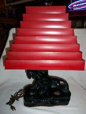 "Original 1950's Mid-Century Modern BLACK PANTHER Ceramic LAMP Tin Shade 22"" TALL"