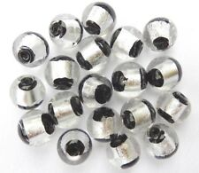 14mm x 20 silver and black round foil handmade glass beads
