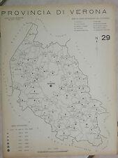 Vecchia stampa della provincia di VERONA da d Epoca fascista Regno Italia mappa