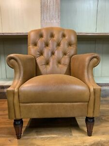 EX Showhome Laura Ashley brown leather Lancaster armchair reading chair rrp£1450