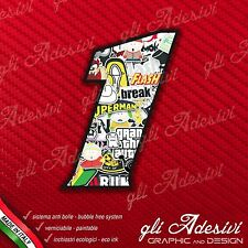 Adesivo Stickers NUMERO 1 moto auto cross gara STICKER BOMB 5 cm