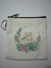 Cotton Cute Small Zipper Wallet Bag Purse Coin Key Holder Case Handbag-Cat