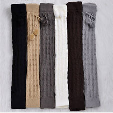Women Girls Winter Knitted Leg Warmer Knee Thigh High Long Boots Socks Fur Ball