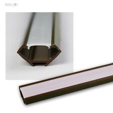 1m LED Plastica profilo angolare marrone con Copertura OPALE Guida Listello per